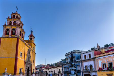 Our Lady of Guanajuato Paz Peace Statu Town Square Guanajuato, Mexico Statue donated To City by Charles V, Holy Roman Emperor, in the 1500s.  Steeple, Towers, Basilica de Nusetra Senora Guanajuato, Mexico
