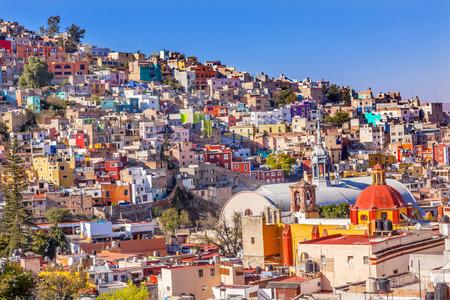 Colored Houses Iglesia de San Roque Market Mercado Hidalgo Guanajuato, Mexico