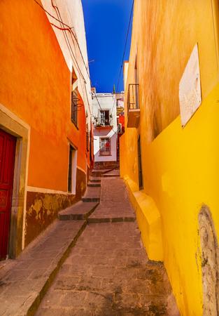 Yellow Orange Narrow Street Guanajuato Mexico Stock Photo
