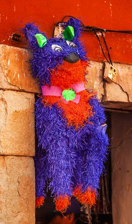 pinata: Colorful Red Purple Donkey Pinata Guanajuato Mexico