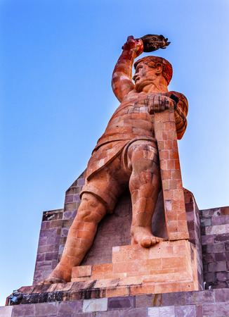 El Pipila Statue Guanajuato Mexico. El Pipila is  Juan Jose Martinez, a miner, who led the assault against the FortGranary in Guanajuato in the 1810 Mexican War of Independence.