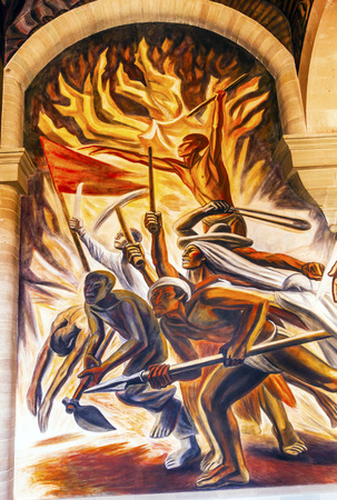 Revolutionary Forces Morado Mural Alhondiga de Granaditas Independence Museum Guanajuato Mexico.  Battle Site 1810 Mexican War of Independence where Miguel Hidalgo led first major battle of 1810 revolution.  Mural by Jose Chavez Morado in 1966, last of gr