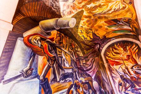 major battle: Revloutionary Forces, Skeleton Sword Mural,  Morado Alhondiga de Granaditas Independence Museum Guanajuato Mexico.  Battle Site 1810 Mexican War of Independence where Miguel Hidalgo led first major battle of 1810 revolution.  Mural by Jose Chavez Morado i