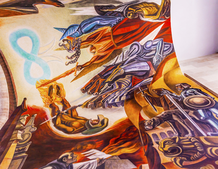 major battle: Royalty Forces Morado Mural Alhondiga de Granaditas Independence Museum Guanajuato Mexico.  Battle Site 1810 Mexican War of Independence where Miguel Hidalgo led first major battle of 1810 revolution.  Mural by Jose Chavez Morado in 1966, last of great Me