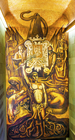 major battle: Mexican Workers Roots Morado Alhondiga de Granaditas Independence Museum Guanajuato Mexico.  Battle Site 1810 Mexican War of Independence where Miguel Hidalgo led first major battle of 1810 revolution.  Mural by Jose Chavez Morado in 1966, last of great M Editorial