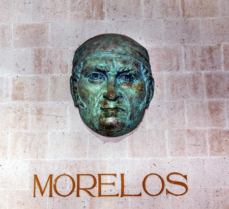 morelos: Jose Maria Morelos Bust Statue Alhondiga de Granaditas Independence Museum Guanajuato Mexico.  Battle Site 1810 Mexican War of Independence and Independence Museum.  Morelos took over Revolutionary army after Hidalgos death.  Was captured, executed but c Editorial