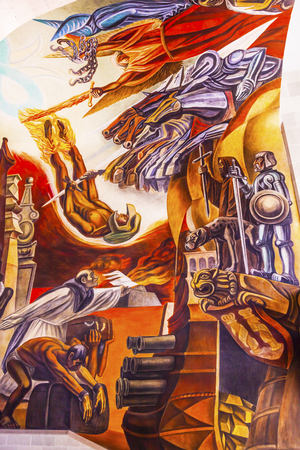 major battle: Spanish Guns Morado Mural Hidalgo Window Alhondiga de Granaditas Independence Museum Guanajuato Mexico.  Battle Site 1810 Mexican War of Independence where Miguel Hidalgo led first major battle of 1810 revolution.  Mural by Jose Chavez Morado in 1966, las