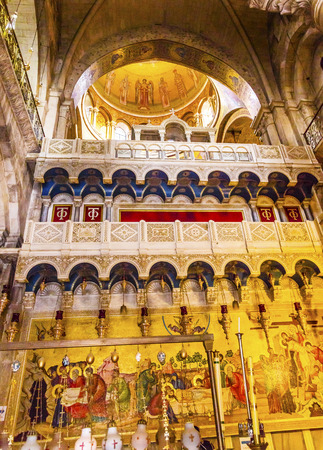 chr: Unction Stone Arches Dome Crusader Church of the Holy Sepulchre Jerusalem Israel.  Church expanded in 1114 to 1170 AD contains Jesus Tomb and Golgotha, Crucifixion site.  Church site of resurrection and crucifixion.  Unction Stone is the rock on which Chr
