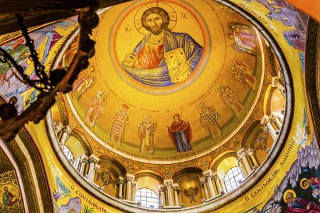 Jesus Catholikon Dome Crusader Church of the Holy Sepulchre Jerusalem Israel.  Church expanded in 1114 to 1170 AD contains Jesus Tomb and Golgotha, Crucifixion site.  Church site of resurrection and crucifixion Editorial