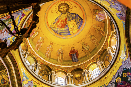 craftmanship: Jesus Catholikon Dome Crusader Church of the Holy Sepulchre Jerusalem Israel.  Church expanded in 1114 to 1170 AD contains Jesus Tomb and Golgotha, Crucifixion site.  Church site of resurrection and crucifixion Editorial