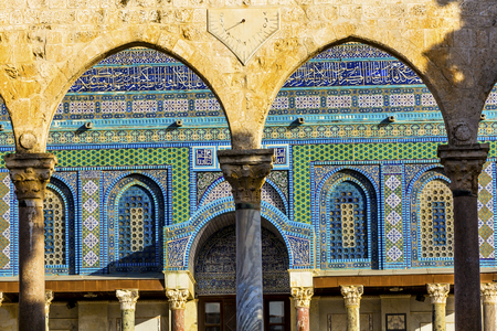 Mosaics Arches Dome of the Rock Islamic Mosque Temple Mount Jerusalem Israel.  Built in 691 One of most sacred spots in Islam where Prophet Mohamed ascended to heaven on an angel in his night journey.  The Dome covers the rock where Abraham was to sacri