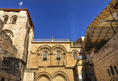 church of the holy sepulchre: Church of the Holy Sepulchre Jerusalem Israel.  Church expanded in 1114 to 1170 AD contains Jesus Tomb and Golgotha, Crucifixion site.  Church site of resurrection and crucifixion Stock Photo