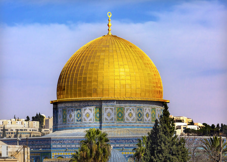 abraham: Dome of the Rock Islamic Mosque Temple Mount Jerusalem Israel.  Built in 691 One of most sacred spots in Islam where Prophet Mohamed ascended to heaven on an angel in his night journey.  The Dome covers the rock where Abraham was to sacrifice Issac.  Stock Photo