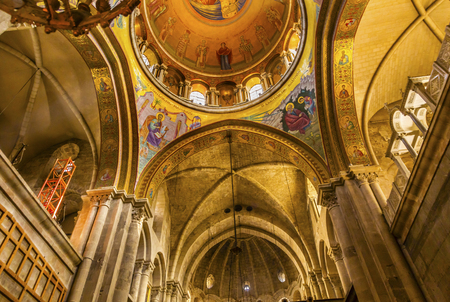 church of the holy sepulchre: Arches Dome Crusader Church of the Holy Sepulchre Jerusalem Israel.  Church expanded in 1114 to 1170 AD contains Jesus Tomb and Golgotha, Crucifixion site.  Church site of resurrection and crucifixion Editorial