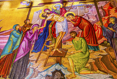 church of the holy sepulchre: Chirst Taken Down from Cross Mary Joseph of Airmetihia Mosaic Church of the Holy Sepulchre Jerusalem Israel.  Church expanded in 1114 to 1170 AD contains Jesus Tomb and Golgotha, Crucifixion site.  Church site of resurrection and crucifixion Editorial