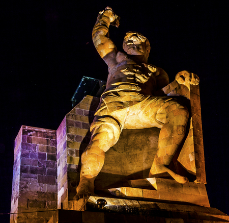 El Pipila Statue Night Stars Guanajuato Mexico. El Pipila is  Juan Jose Martinez, a miner, who led the assault against the FortGranary in Guanajuato in the 1810 Mexican War of Independence.  Statue created in 1939 by sculptor Juan Fernando Olaguibel. Editorial