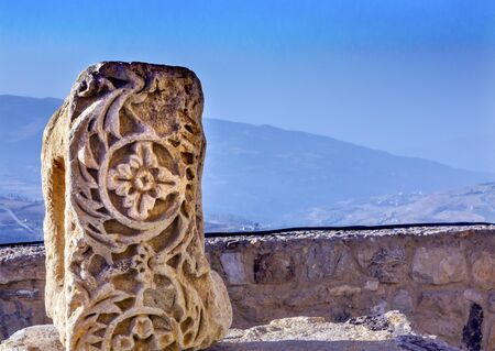 Ancient Crusader Castle Decoration Stone View Arabic Fortress Citadel Kerak Jordan.  AncientCrusader Castle built in 1142.  Later resisted attacks by Saladin, but finally fell in 1188. Editorial