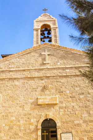 craftmanship: Saint Georges Greek Orthodox Church Bell Tower Madaba Jordan.  Church was created in the late 1800s and houses many famous mosaics Stock Photo