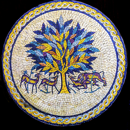 craftmanship: Tree of Life Mosaic Madaba Jordan. Tree of Life is famous ancient mosaic from Hisham Palace Archeological Site in Jericho Editorial