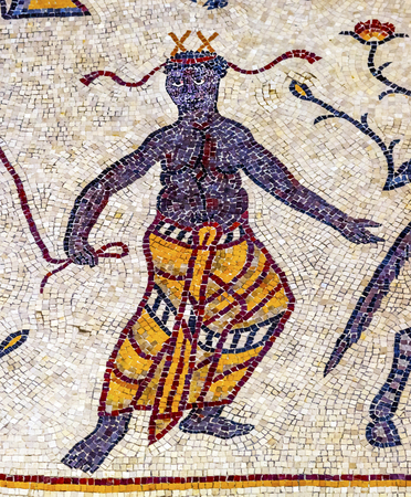 Ancient 6th Century People Mosaic Memorial Church Moses Mount Nebo Jordan.  Mount Nebo where Moses saw the holy land and was buried.  Mosaic is important because of Iconclasim from 726 to 846AD, which decreed that the depiction of humans in icons and mosa Editorial