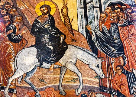 Jesus Christ Palm Sunday Donkey Mosaic Saint George's Greek Orthodox Church Madaba Jordan.  Church was created in the late 1800s and houses many famous mosaics Editorial