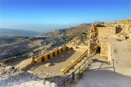 Ancient Crusader Castle View Arabic Fortress Citadel Kerak Jordan.  AncientCrusader Castle built in 1142.  Later resisted attacks by Saladin, but finally fell in 1188.