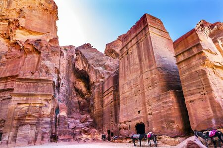 Rose Red Rock Tomb Afternoon Horses Street of Facades Petra Jordan.  Built by the Nabataens in 200 BC to 400 AD.  Afternoon turns yellow canyon walls in to rose red canyon walls create and many abstracts close up.  Inside the Tombs, the rose red can becom