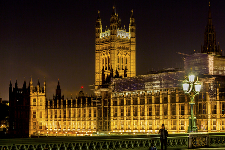 Houses of Parliament Westminster Bridge Night Westminster London England.  Built in the 1800s, House of Commons and House of Lords. Stock Photo
