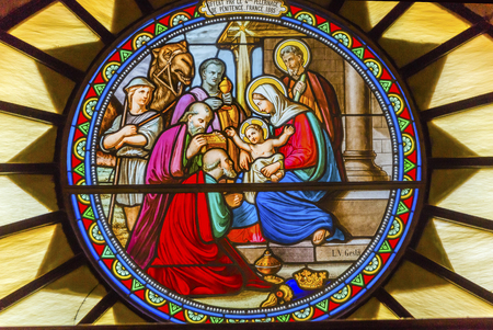 Three Kings Nativity Stained Glass Saint Catherine Church Church of the Nativity Bethlehem West Bank Palestine. Saint Jerome lived in Bethlehem 384 AD. Location of Jesus birth in writings in 160AD, church built in 326 AD by Constantine