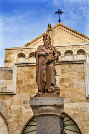 craftmanship: Saint Jerome Statue Saint Catherine Church Church of the Nativity Bethlehem West Bank Palestine. Saint Jerome lived in Bethlehem 384 AD. First person to translate Greek Bible into Latin. Location of Jesus birth in writings in 160AD, church built in 326 AD