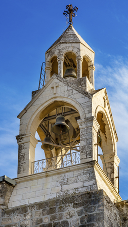 craftmanship: Steeple Belfry Bells Church of the Nativity Bethlehem West Bank Palestine. Chruch located above cavegrotto where Jesus was born.  Location of Jesus birth in writings in 160AD, church built in 326AD by Constantine