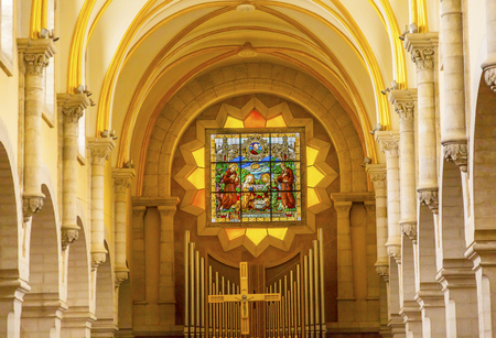 Saint Catherine Church Basilica Interior Stained Glass Cross Church of the Nativity Bethlehem West Bank Palestine. Saint Jerome lived here in Bethlehem 384 AD. Location of Jesus birth in writings in 160AD, church built in 326 AD by Constantine