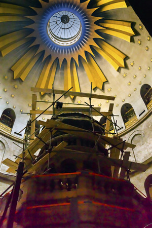 expanded: Jesus Tomb Construction Church of the Holy Sepulchre Jerusalem Israel.  Church expanded in 1114 to 1170 AD contains Jesus Tomb and Golgotha, Crucifixion site.  Church site of resurrection and crucifixion