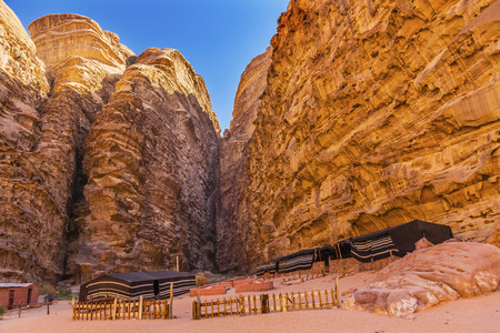 Bedouin Camp Barrah Siq Wadi Rum Valley of the Moon Jordan.  Inhabited by humans since prehistoric times, place where TE Lawrence of Arabia in the early 1900s Stock Photo
