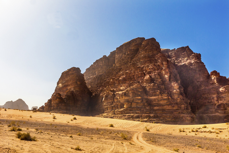 Yellow Sand Rock Formation Wadi Rum Valley of the Moon Jordan.  Inhabited by humans since prehistoric times, place where TE Lawrence of Arabia in the early 1900s