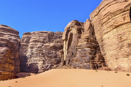 Sand Dune Barrah Siq Wadi Rum Valley of the Moon Jordan.  Inhabited by humans since prehistoric times, place where TE Lawrence of Arabia in the early 1900s Stock Photo