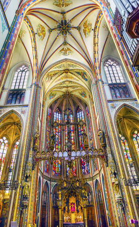 Basilica Christ Crucifix Stained Glass De Krijtberg Church Amsterdam Holland Nederland. Rooms-katholieke kerk gebouwd in 1883, misschien wel de mooiste kerk in Amsterdam.