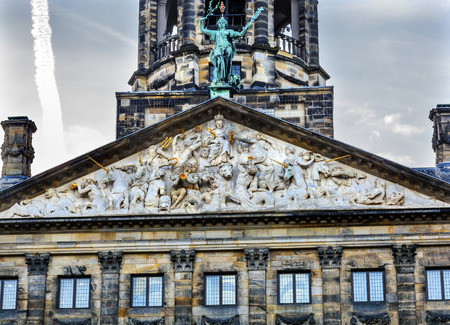 Neptune Frieze Royal Palace Town Hall Amsterdam Holland Netherlands.  Opened up as a town hall in 1655.
