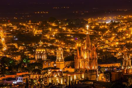 San Miguel de Allende, Mexico, Miramar Overlook Night Parroquia Archangel Church Close Up, Churches Houses