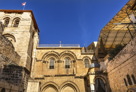Church of the Holy Sepulchre Jerusalem Israel.  Church expanded in 1114 to 1170 AD contains Jesus Tomb and Golgotha, Crucifixion site.  Church site of resurrection and crucifixion Reklamní fotografie