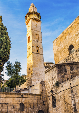 Islamic Minaret Mosque of Omar Islamic Mosque Jerusalem Israel.  Built in 637 AD by by Arab Caiph Omar Ibn Hatab Outside and Overlooking Church of Holy Sepulcher