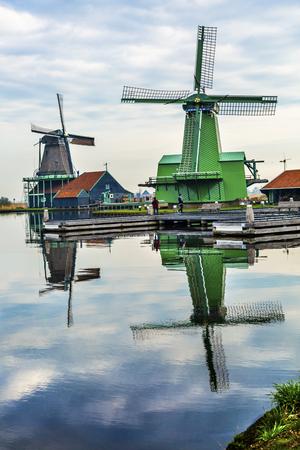 Wooden Windmills Stock Photo