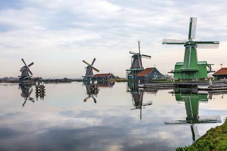 famous industries: Wooden Windmills Stock Photo