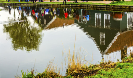 Zaanse Schans Old  Village Countryside Colorful Reflection Lake Holland Netherlands.