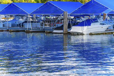 Blue Covers Boardwalk Marina Piers Boats Reflection Lake Coeur d Alene Idaho