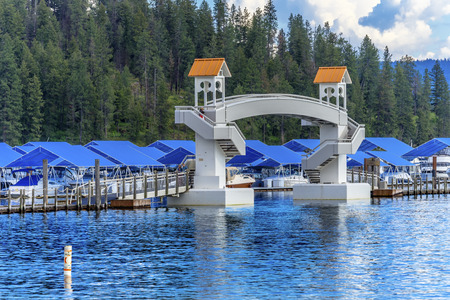 Walking Bridge Blue Covers Boardwalk Marina Piers Boats Reflection Lake Coeur d Alene Idaho
