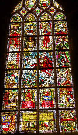 King William of Orange Martin Luthur Stained Glass New Cathedral Nieuwe Kerk Dutch Reformed Church Delft Netherlands Holland Netherlands. Church built in 1300s, burial place of the Royal Family.William of Orange king of Netherlands and later became King o