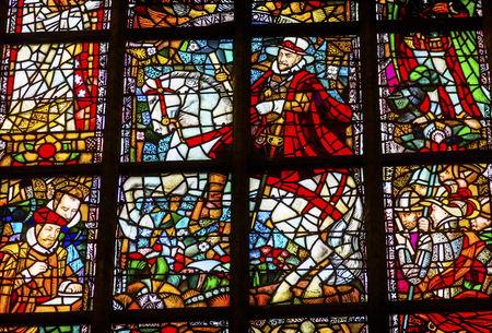 catholicism: King William of Orange Stained Glass New Cathedral Nieuwe Kerk Dutch Reformed Church Delft Netherlands Holland Netherlands. Church built in 1300s, burial place of the Royal Family.William of Orange king of Netherlands and later became King of England.