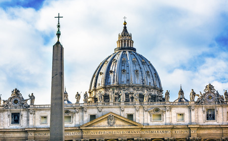 Saint Peters Basilica Obelisk Front Michelangelo Dome Statues Bernini Vatican Front