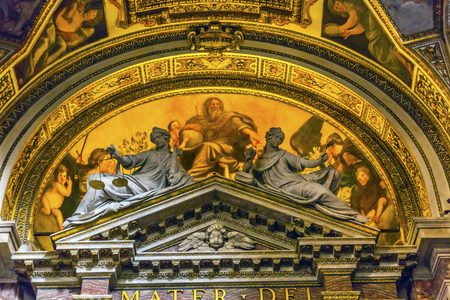 God Painting Statues Santa Maria Della Pace Church Basilica Dome Rome Italy.  Church built in 1400 and 1500s by Pope Sixtus IV on the spot where a painted Madonna was pierced and blood came out.